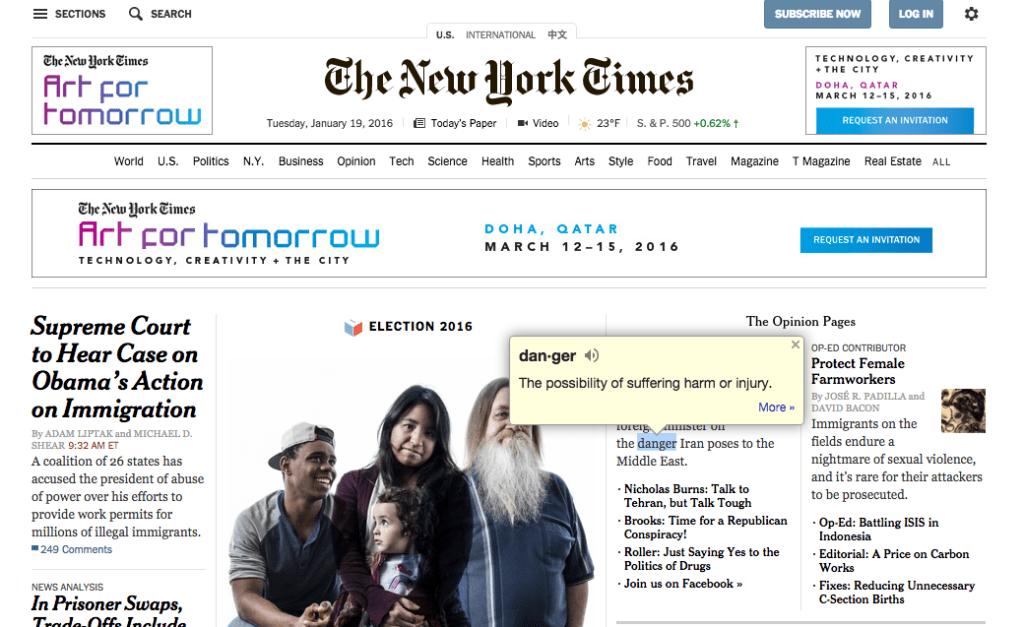 Google Dictionary - NYT